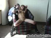 Big boobed whore gets tied and plays with toys