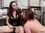 Busty dominatrix anal fucks lesbians