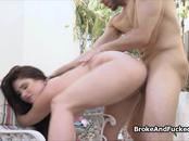Broke big natural tit on my dick