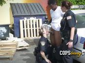Black thug with expired license is subdued into drilling milf cop's coochies