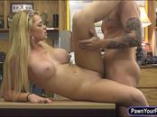 Booby blonde babe sells her tiara and banged by pawn guy