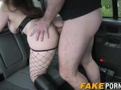 Cute brunette babe with big ass gets ass smashed by driver