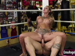Busty tattooed boxer babe licked and fucked by coach bigcock