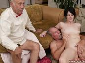 Old girl  and german young threesome Frannkie goes down the