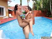 Short redhead teen Swimming In Semen