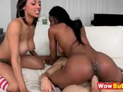 Ebony hotties share as they both suck and ride big cock