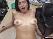 Latina babe Alexis Deens needs cash and fucks in the pawnshop