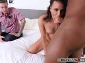 Unsatisfied lady caught by her partner fucking a black guy