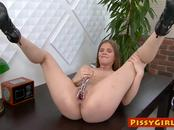 Sexy secretary sprays her juices all over the office floor