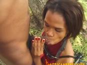 Busty ebony whore likes it rough and kinky outdoors