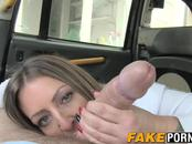 Sexy brunette in stockings fucks the taxi drivers long dick