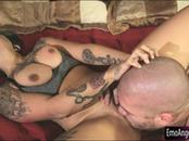 Huge tits emo slut Veronica Angel deeply pounded on the bed