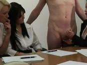 Office meeting slut jerk off their co workers hard cock