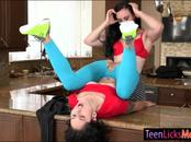 Hot mom and slutty teen intimate lesbosex in the kitchen