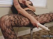 Big tit MILF toys pussy and strokes cock