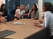 CFNM office babes evaluating cock