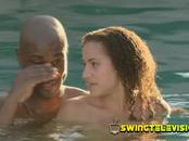 Sharing drinks in the water with other sensual girl friendly couples while fulfilling your fantasies