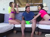 Lucky dude gets a hot threesome from two besties in bikinis