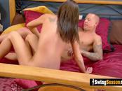 Hot swinger couple is having wild sex in their suite!