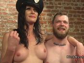 Busty tranny likes to bangs man in uniform