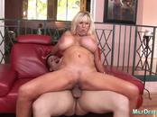 Blonde MILF with really huge tits fucked