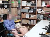 Tattooed shoplifting blonde teen and mall cop have some alone time in security room