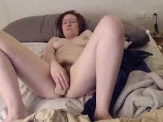 Redhead obedient pet with hairy bush ready to play