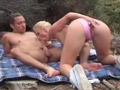 Lusty Blonde Girl Takes A Hard Sack Session At The Beach