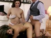 She gets fucked by mature guy whille she eats pussy