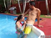 One brunette and blonde Swimming In Semen