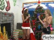 Hot tight blondie babe fucking a dildo on chirstmas tree