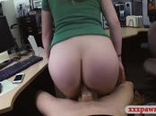 Blonde woman nailed by horny pawn keeper in his office