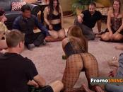 Swinger couples play kissing game dressed with sexy underwear before entering the Red Room.