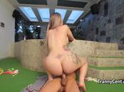 Dude plays with massive tranny ass