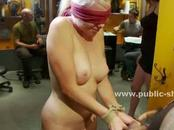 Blonde slut gets tied up and used hard in a tattoo parlor by strange men and women