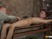 Connor can hardly fight back as kinky Ashton arrives to play with pegs