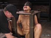 Brunette slave gets hose over face