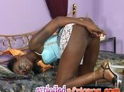 Cute mail order bride teen African wife devouring white thick cock new husband