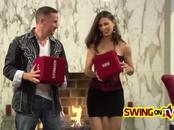 Swinger girlfriend is amazed by that ravaging boner