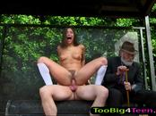 Abella Danger boned in bus stop while an old geezer watches