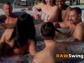 Big boob swinger girls go topless outdoors