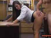 Round big ass woman nailed by pawn dude in his office