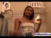 Slim ebony Stephanie Reigns stroking dude's cock POV
