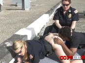 Perverted milf cops take peeping tom to a rooftop for hot sex