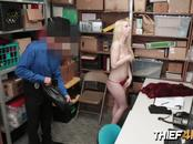 Shoplifting hottie begs horny mall cop not to call the police on her