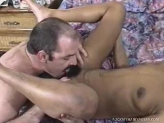 Flat-Chested Ebony Chick Rubs Pussy  Then Services And Bangs Pole