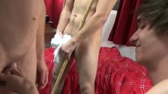 Gay college boys sucking dick together during dorm party