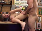 Busty tattoo artist getting fucked in the pawnshop for cash