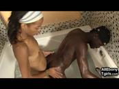 Ebony Tgirl and Black BF Fuck and Cum!