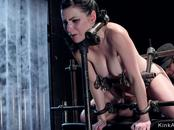 Sub in device bondage gets clamped